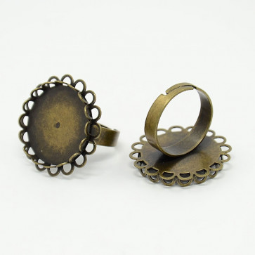 nastavek za prstan 17mm/20mm, antik, brez niklja, 1 kos