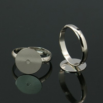 osnova za prstan s ploščico 12 mm, premer nastavljivega obročka: 17 mm, platinaste barve, brez niklja, 1 kos