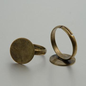 osnova za prstan s ploščico 16 mm, premer nastavljivega obročka: 17 mm, antik, brez niklja, 1 kos