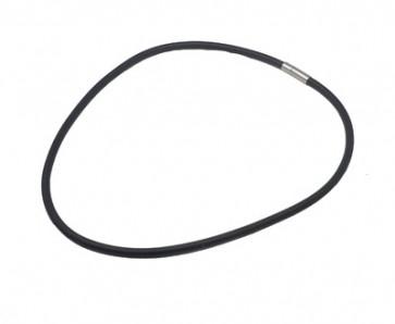 osnova za ogrlico - gumi, 46 cm, črne b., debelina: 4 mm, 1 kos