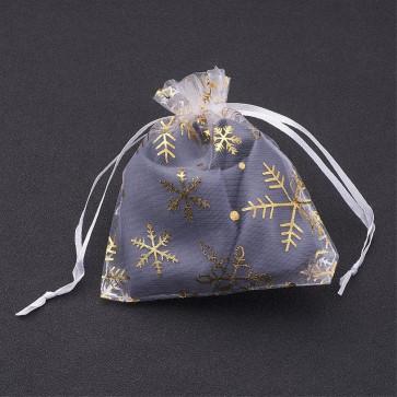 organza vrečke 12x10 cm, bele - zlate snežinke, 1 kos