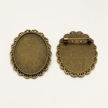 osnova za broško 48x38x2.5 mm, antik, brez niklja, velikost kapljice: 30x40 mm, 1 kos