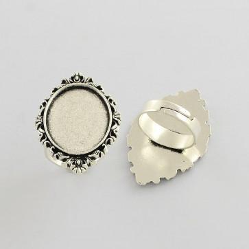 osnova za prstan za kapljico 18x25 mm, premer nastavljivega obročka: 17 mm, b. starega srebra, 1 kos