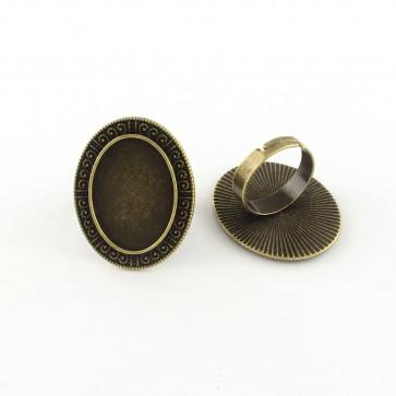 osnova za prstan za kapljico 18X25 mm, premer nastavljivega obročka: 18 mm, antik, 1 kos