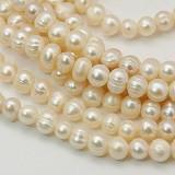 biserne perle - naravne, 6~7 mm, b. OldLace, 1 niz - 39 cm
