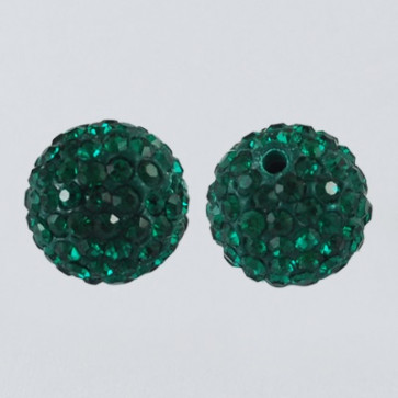 fimo perle s kristali Emerald, 10 mm, velikost luknje: 1.5 mm, 1 kos