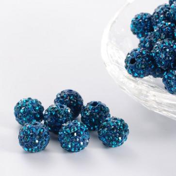 fimo perle s kristali Blue Zircon, 10 mm, velikost luknje: 1.5 mm, 1 kos