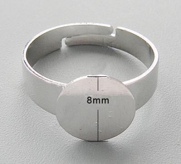 osnova za prstan s ploščico 8 mm, premer nastavljivega obročka: 17.2 mm, nerjaveče jeklo, 1 kos