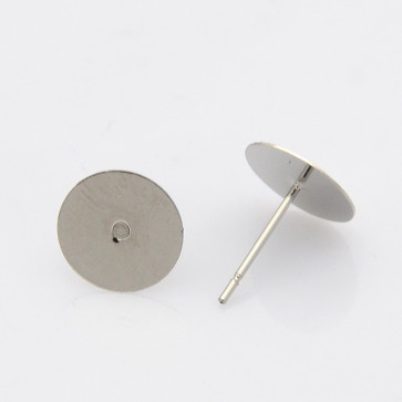 osnova za uhan 12x10x0.4 mm, nerjaveče jeklo, velikost ploščice: 10 mm, 10 kos