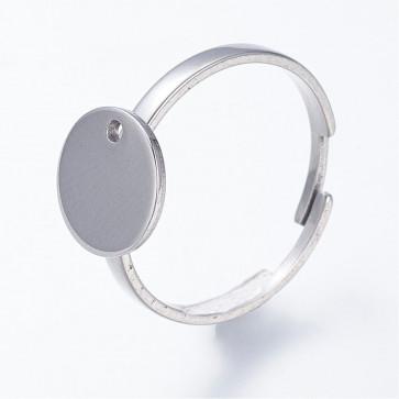 osnova za prstan s ploščico 10 mm, premer nastavljivega obročka: 17.5 mm, nerjaveče jeklo, 1 kos
