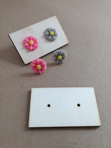 lesena ploščica za uhane 3x5 cm, naravna, 1 kos