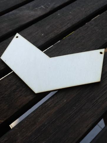 leseni obesek - V, 10x4 cm, naraven, 1 kos