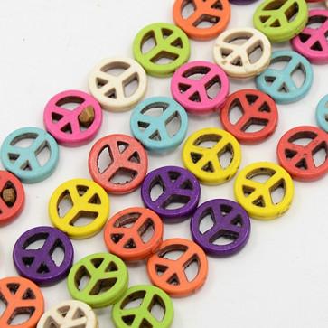 "perle iz kamna 20x4 mm, znak ""Peace"", mix, 1 niz - cca 20 kos"
