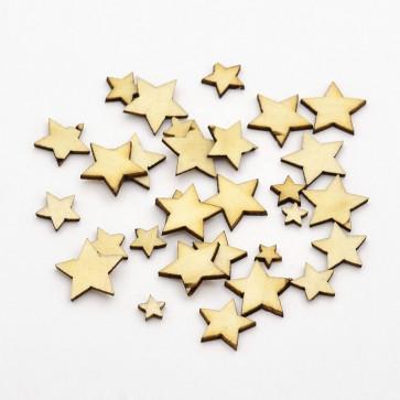 lesena kapljica - zvezdica 6~14x1 mm, naravna, 10 kos