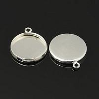 osnova za obesek - medaljon 19x16x2mm, srebrne barve, velikost kapljice: 14 mm, 1 kos