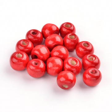 lesene perle 12x10.5 mm, okrogle, rdeče, 100 kos