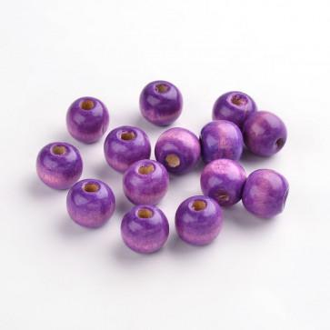 lesene perle okrogle 11x12 mm, vijola, velikost luknje: 4 mm, 100 kos