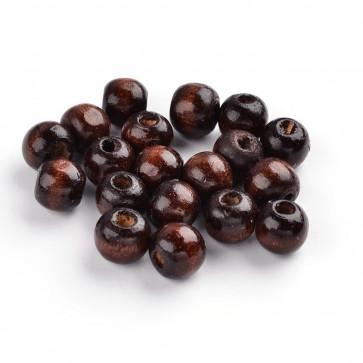 lesene perle okrogle 7x6 mm, rjave, velikost luknje: 3 mm, 200 kos