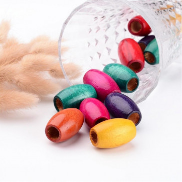 lesene perle 30x20 mm, ovalne, mix, velikost luknje: 10 mm, 20 kos