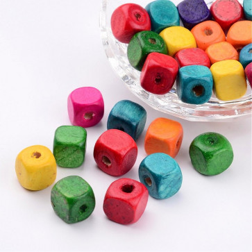 lesene perle 10 mm, kocka, mix, velikost luknje: 3.5 mm, 100 kos