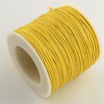bombažna vrvica 1 mm, rumena, povoščena, 84 m