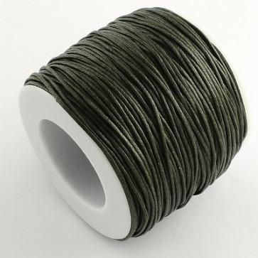bombažna vrvica 1 mm, temno olivno zelena, povoščena, 84 m