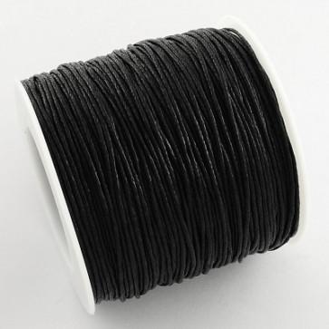 bombažna vrvica 1 mm, črna, povoščena, 84 m
