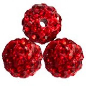 shamballa perle okrogle 8 mm, rdeče, 1 kos