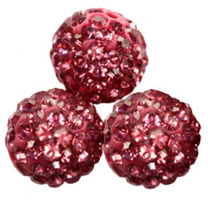 shamballa perle okrogle 12 mm, magenta, 1 kos
