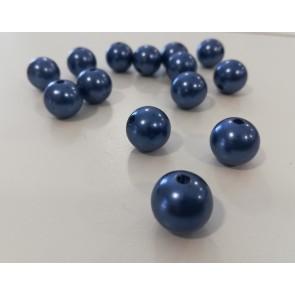 plastične perle okrogle, 12 mm, modra, 50 gr