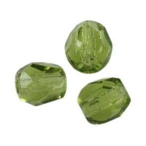 perle - češko steklo 4 mm, olivine, 10 kos