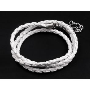 osnova za ogrlico - usnjena, prepletena, bela, dolžina: 45 cm, 1