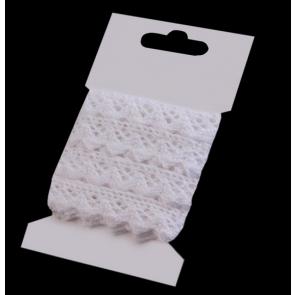 bombažni trak - videz čipke, 15 mm, bela b., 3 m