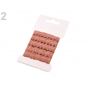 bombažni trak - videz čipke, 12 mm, roza, 3 m
