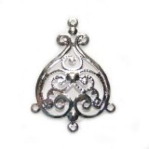 dekorativni dodatek 3,5 cm z zanko, posrebren, 1 kos