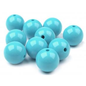 plastične perle 20 mm, turkizne barve, 1 kos