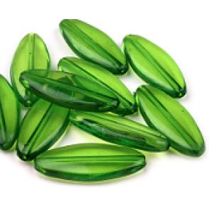 plastične perle 13x31mm, zelene, 5 kos