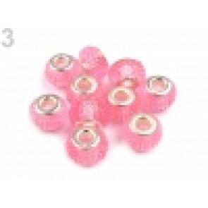 steklene perle z veliko luknjo 9x14 mm, roza, 1 kos