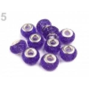 steklene perle z veliko luknjo 9x14 mm, borovnica, 1 kos