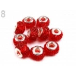 steklene perle z veliko luknjo 9x14 mm, rdeča, 1 kos