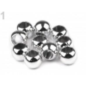 perle iz um. mase z  veliko luknjo, 8 x 10 mm, srebrne b., 10 kos