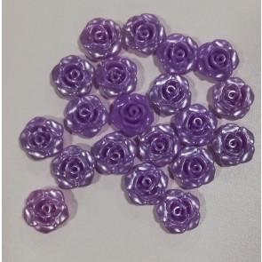 perle roža - umetna masa, 13 mm, z luknjo, viola, 1 kos