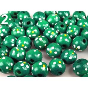 lesene perle, okrogle 1.6 cm, modro zelene, 1 kos