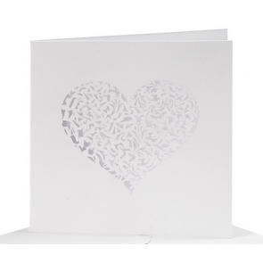 osnova za vabila z izrezom srca - biserni izgled, 13,5x13,5 cm, 240 g, bela b., 1 kos