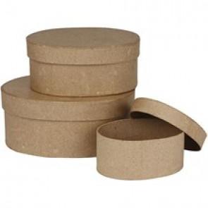 škatla iz kartona (ovalna) 15x6,5 cm, rjava, 1 kos