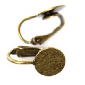 osnova za uhane brez luknje, 1,8 cm, antik, brez niklja, 1 kos