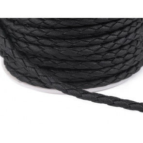 EKO pletena usnjena vrvica 2 mm, črna, 1 m