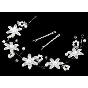okrasna sponka za lase, cvetovi, srebrna-kovinske b., 32 cm, 1 komplet (3 kosi)