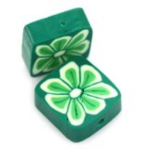 fimo perle kvadratne 10 mm, zelene, 5 kos