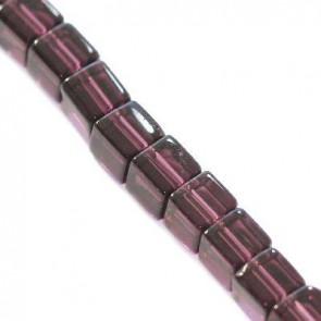 steklene perle, kocke 4 x 4 mm, vijola, 1 niz - 32 cm